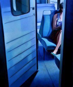 La passagère de Passy - Huile sur toile - 55 x 46 cm